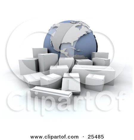 Clipart Illustration of a Group Of White Shipping Boxes In Front Of A Globe Featuring The Americas by KJ Pargeter