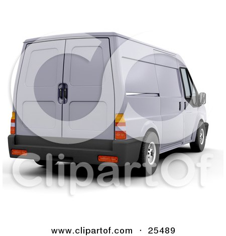 Clipart Illustration of a Delivery Van Parked at a Shipping Place by KJ Pargeter