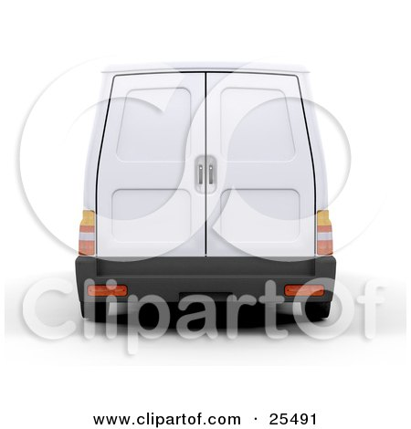 Clipart Illustration of a Rear View Of A White Delivery Van With Doors That Open by KJ Pargeter