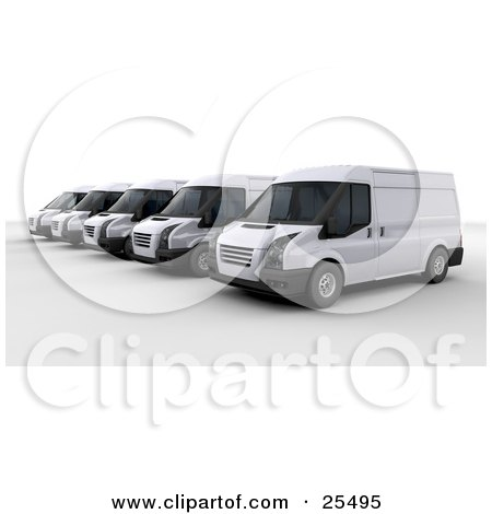 Line Of White Delivery Vans Parked In A Parking Lot Posters, Art Prints