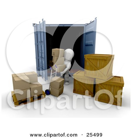 White Character Unloading Cardboard Boxes And Crates From A Cargo Container Posters, Art Prints