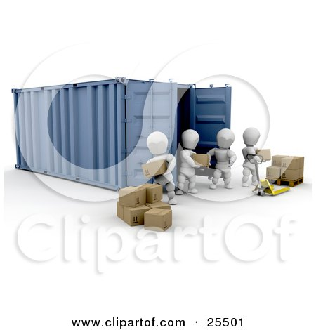 Clipart Illustration of White Characters Working Together To Move A Shipment Of Boxes From A Freight Container To A Pallet Truck by KJ Pargeter