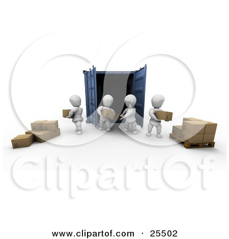 Clipart Illustration of White Characters Unloading Cardboard Boxes From A Blue Freight Container And Stacking Them On A Pallet by KJ Pargeter