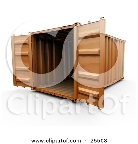 Clipart Illustration of an Open Orange Freight Container by KJ Pargeter