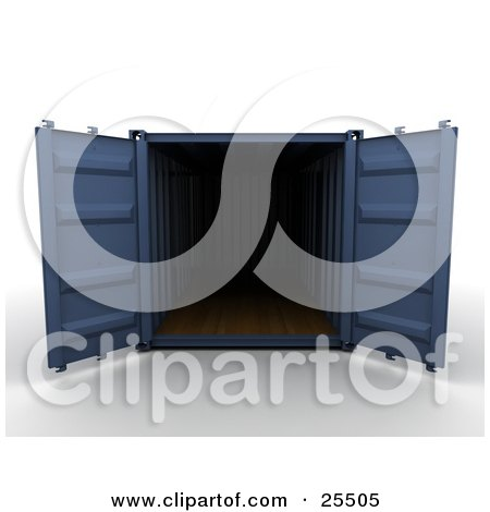 Clipart Illustration of an Open Blue Cargo Container by KJ Pargeter