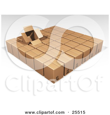 Clipart Illustration of an Opened Box Sticking Out Of Rows Of Sealed Brown Cardboard Boxes Ready For Shipment by KJ Pargeter