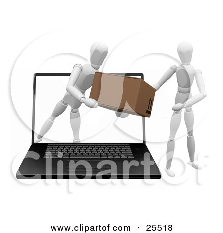 Clipart Illustration of a White Figure Character Emerging From A Laptop Computer Screen And Handing A Package To Another Person by KJ Pargeter