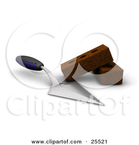 Clipart Illustration Of A Blue And Black Handled Trowel Tool Beside Two Bricks