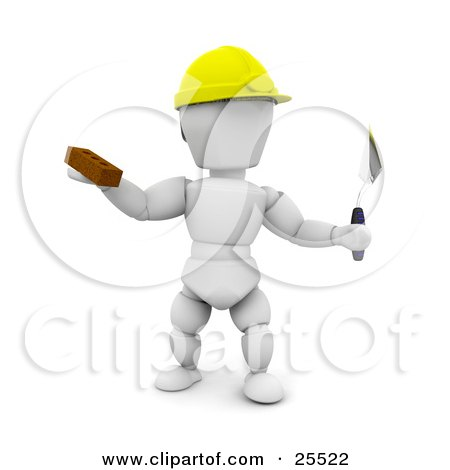 Clipart Illustration of a White Character Bricklayer Worker Wearing A Hard Hat Holding A Brick And Tool by KJ Pargeter