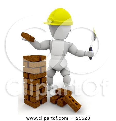 Clipart Illustration of a White Character Bricklaying Worker Wearing A Hard Hat Stacking Bricks by KJ Pargeter