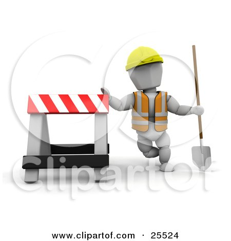 Clipart Illustration of a White Character Construction Worker Wearing A Hard Hat And Vest, Holding A Shovel And Leaning Against A Type II Barricade by KJ Pargeter