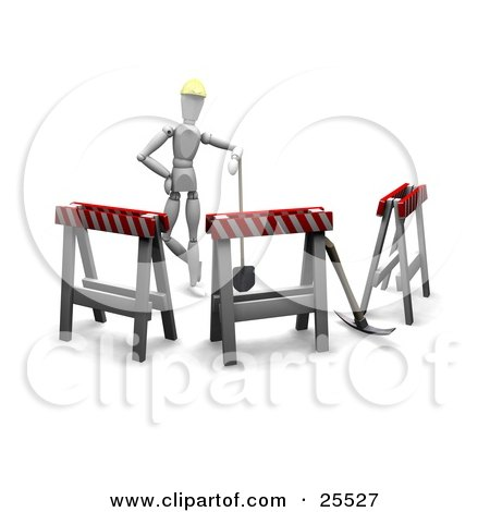 Clipart Illustration of a White Figure Character In A Hardhat, Leaning On A Shovel In A Circle Of Type II Barricades by KJ Pargeter
