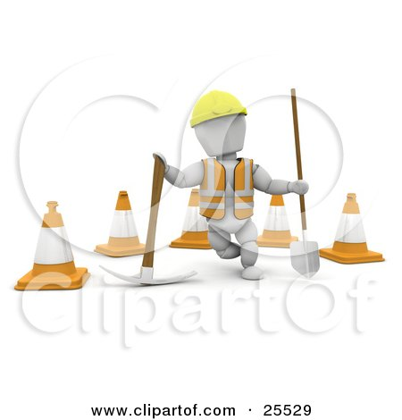 White Character Construction Worker Wearing A Hard Hat And Vest, Standing With A Pickaxe And Shovel In Front Of Construction Cones Posters, Art Prints