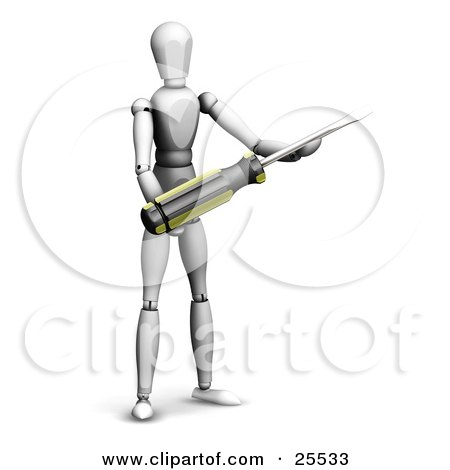 White Figure Character Holding A Screwdriver Tool Posters, Art Prints