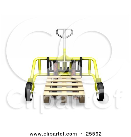 Yellow Metal Pallet Truck Pulling A Wooden Pallet In A Warehouse Posters, Art Prints