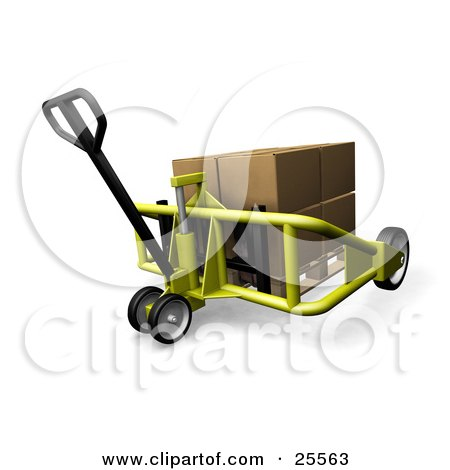 Clipart Illustration of a Yellow Pallet Truck Moving A Large Cardboard Box by KJ Pargeter