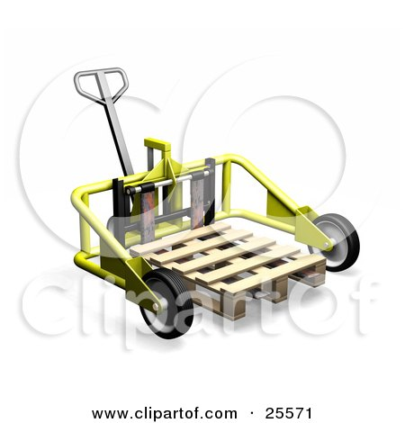Yellow Metal Pallet Truck Pulling A Wood Pallet In A Warehouse Posters, Art Prints