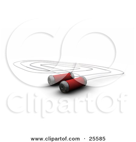 Clipart Illustration of a Silver Jump Rope With Red Cushioned Handles, Over White by KJ Pargeter