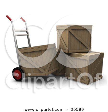 Clipart Illustration of a Hand Truck Beside A Stack Of Three Shipping Crates, Moving One Crate by KJ Pargeter