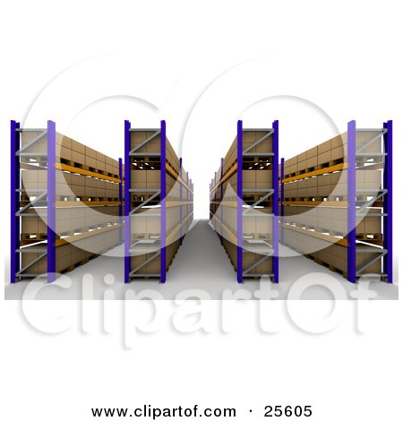 Clipart Illustration of Rows Of Cardboard Boxes Organized In Shelves In A Warehouse by KJ Pargeter