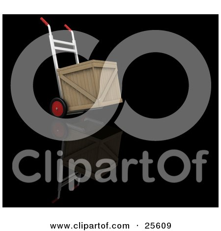 Clipart Illustration of a Dolly With Red Wheels And Handles, Moving A Wooden Shipping Crate by KJ Pargeter