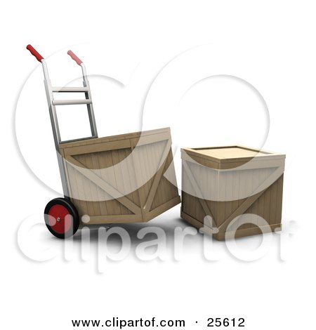 Clipart Illustration of a Hand Truck Moving A Shipping Crate, Parked By Another Crate by KJ Pargeter