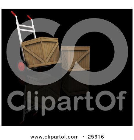 Clipart Illustration of a Dolly Moving A Shipping Crate, Parked By Another Crate by KJ Pargeter