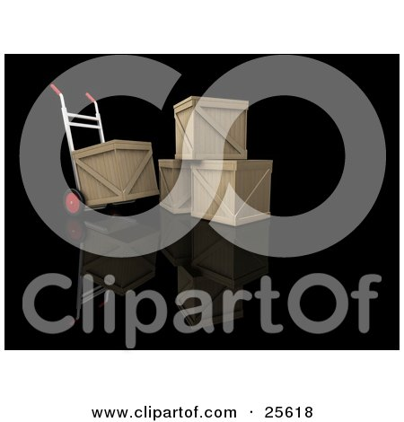 Clipart Illustration of a Dolly Beside A Stack Of Three Shipping Crates, Moving One Crate by KJ Pargeter