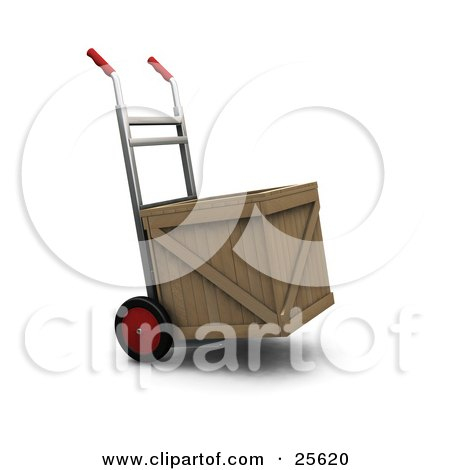 Clipart Illustration of a Hand Truck With Red Wheels And Handles, Moving A Wooden Shipping Crate by KJ Pargeter