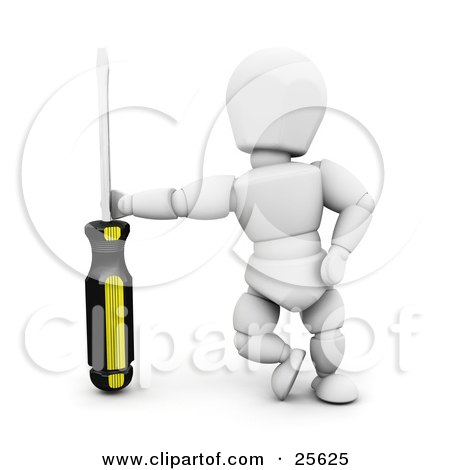 White Character Leaning Against A Screwdriver Posters, Art Prints
