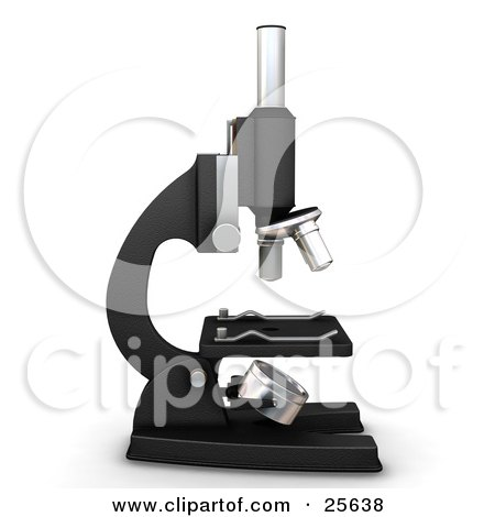 Clipart Illustration of a Profiled Black And Silver Science Lab Microscope, Over White by KJ Pargeter