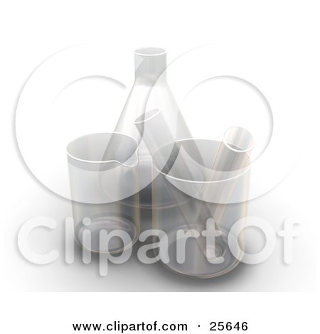Clipart Illustration of Two Test Tubes In Beakers By A Flask In A Laboratory, Over White by KJ Pargeter