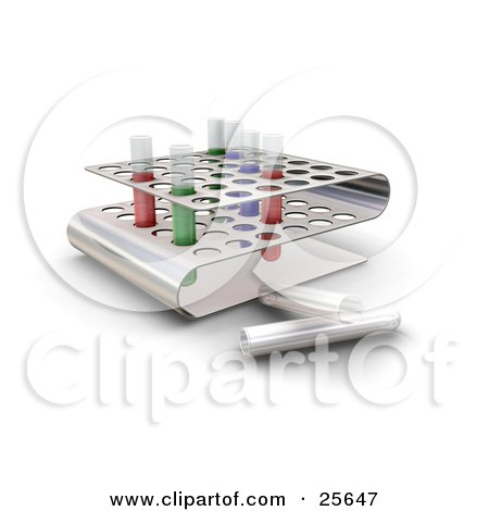 Colorful Liquid Filled Test Tubes In Slots Of A Tray In A Science Lab Posters, Art Prints