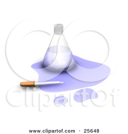 Clipart Illustration of a Dropper On Spilled Purple Liquid In Front Of A Science Lab Flask, Over White by KJ Pargeter