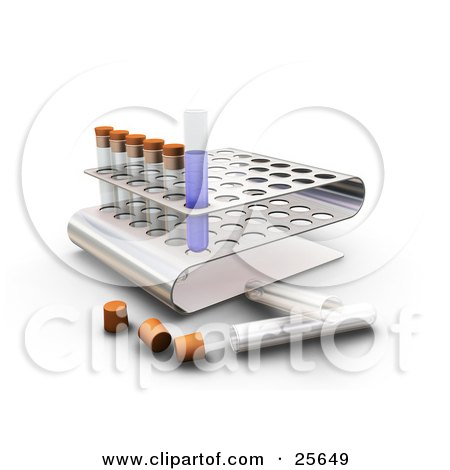 Clipart Illustration of a Liquid Filled Test Tube In A Slot Of A Tray In A Science Lab, Over White by KJ Pargeter