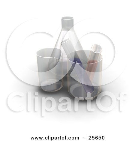 Two Liquid Filled Test Tubes In Beakers By A Flask In A Laboratory, Over White Posters, Art Prints