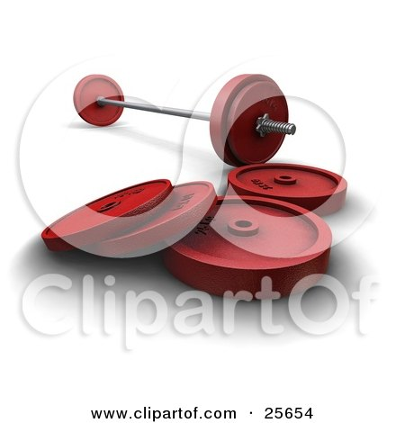 Clipart Illustration of Silver And Red Dumbbells And Barbell Weights, Over White by KJ Pargeter