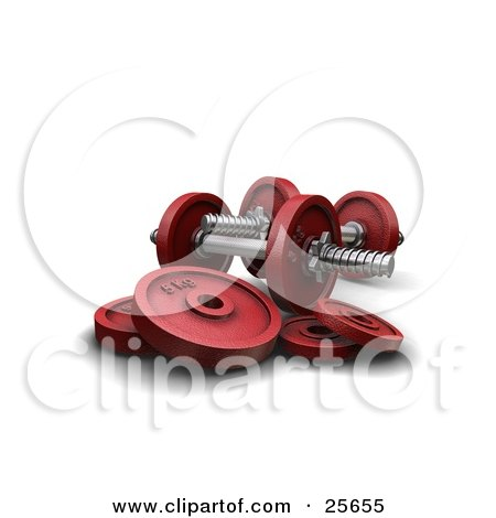 Clipart Illustration of Two Red Dumbbells With Weights, Over White by KJ Pargeter