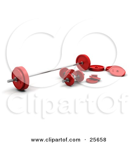 Clipart Illustration of a Set Of Red And Chrome Dumbbells And Barbell Weights, Over White by KJ Pargeter