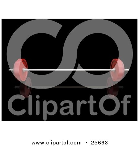 Clipart Illustration of a Chrome Barbell With Red Weights Attached, Over Black by KJ Pargeter