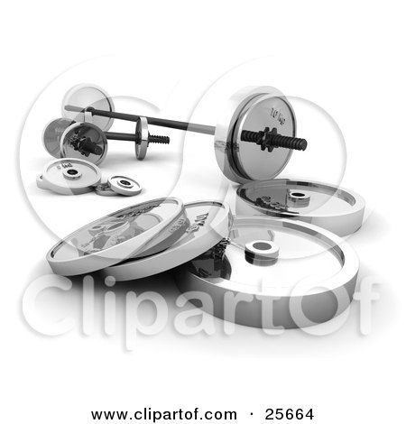 Clipart Illustration of Chrome Dumbbells And Barbell Weights, Over White by KJ Pargeter