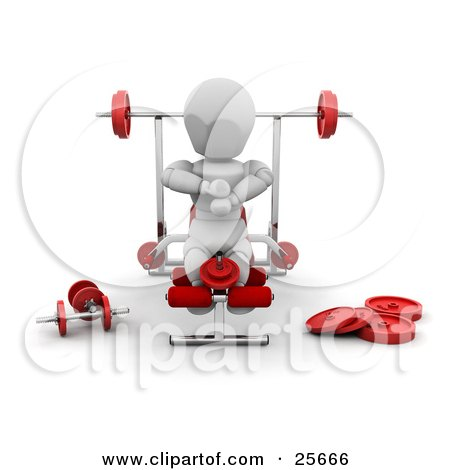 Clipart Illustration of a White Character Working Out His Legs On A Bench In A Fitness Gym by KJ Pargeter