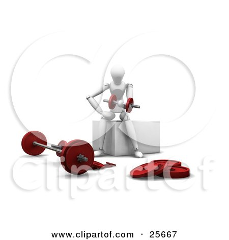 Clipart Illustration of a White Figure Character Lifting Red Dumbbells Near A Barbell In A Gym by KJ Pargeter