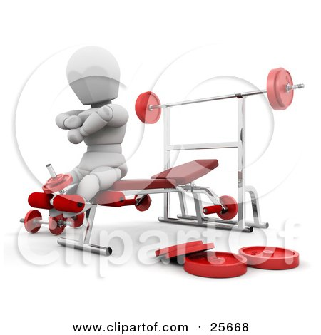 Clipart Illustration of a White Character On A Bench In A Fitness Gym, Doing Leg Exercises by KJ Pargeter