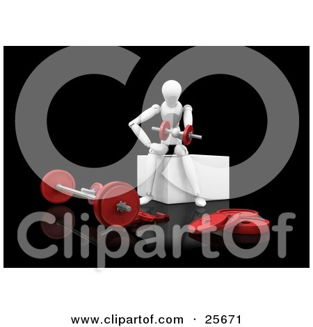 Clipart Illustration of a White Figure Character Doing Arm Curls With Dumbbells While Working Out In A Gym by KJ Pargeter