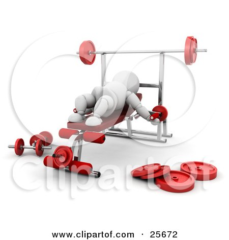 Clipart Illustration of a White Character On A Bench In A Gym, Doing Arm Exercises by KJ Pargeter