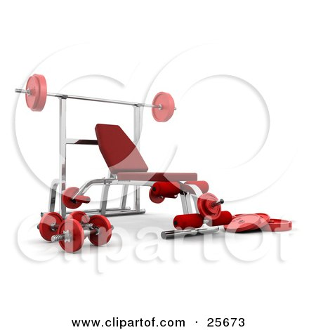 Clipart Illustration of a Red And Silver Bench Press System With Weights And A Barbell In A Gym by KJ Pargeter