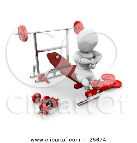 Clipart Illustration of a White Character Doing Leg Exercises On A Bench In A Fitness Gym by KJ Pargeter