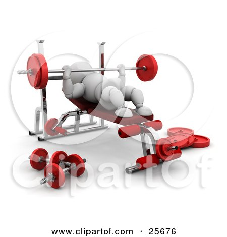Clipart Illustration of a White Character Bench Pressing With A Barbell In A Gym by KJ Pargeter