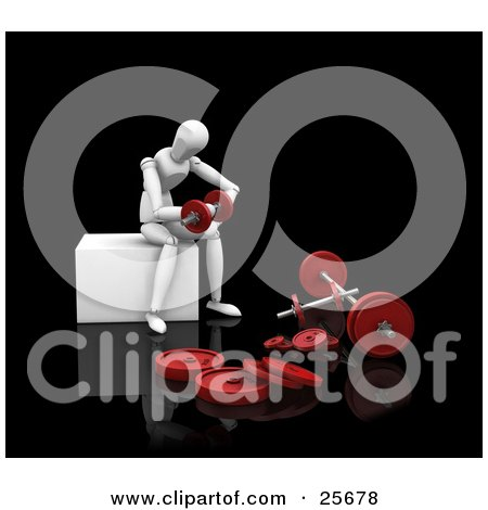 Clipart Illustration of a Seated White Figure Character Sitting And Doing Arm Curls With Red Dumbbells by KJ Pargeter
